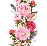Floral border with flowers, roses, feathers. Vintage repeated strip. Watercolor Royalty Free Stock Image