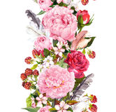 Floral border with flowers, roses, feathers. Vintage repeated strip. Watercolor Stock Images