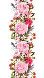 Floral border with flowers, roses, feathers. Vintage repeated strip. Watercolor. Floral border with flowers, roses and feathers. Vintage repeated strip Royalty Free Stock Image