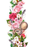 Floral border with flowers, vintage compass. Travel concept. Watercolor seamless frame Stock Photo