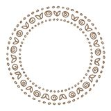 Floral border-07. Hand drawn circle floral border isolated on white background. Design element for home decor, photo frames, branding, greeting cards, textile vector illustration
