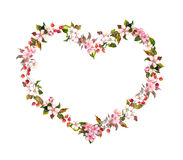 Floral border - heart shape, spring flowers. Watercolor for Valentine day, wedding Stock Photos
