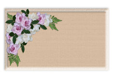 Floral Border label wedding Roses. Image and illustration composition floral background, wedding invitation border, template with copy space, lavender and white vector illustration