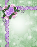 Floral border lavender roses Royalty Free Stock Image