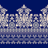 Floral border ornament. Damask seamless pattern Royalty Free Stock Photos