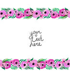 Floral border with pink flowers Royalty Free Stock Images