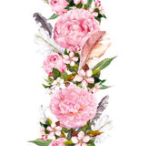 Floral border with pink peony flowers, cherry blossom and bird feathers. Vintage seamless stripe in boho style. Floral border with pink peony flowers, cherry stock illustration