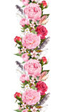 Floral border with pink peony flowers, roses, cherry blossom, bird feathers. Vintage seamless stripe in boho style Stock Images
