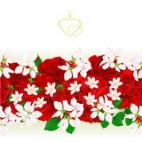 Floral border seamless background red roses with a bud vintage festive background vector Illustration for use in interior design,. Artwork, dishes, clothing Stock Images