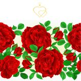 Floral border seamless background red Roses with buds and leaves vintage festive background vector Illustration for use in interi. Or design, artwork, dishes Royalty Free Stock Photo