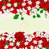 Floral border seamless vertical background red roses with a bud vintage festive background vector Illustration for use in interio. R design, artwork, dishes Stock Photography