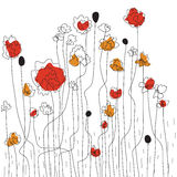 Floral border sketch. With poppies Royalty Free Stock Images