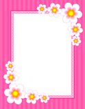 Floral Border - spring and summer. Cute flowers on pink background [spring / summer flowers] floral border, frame for greeting cards and other artworks