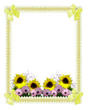 Floral border springtime sunflowers. Image and Illustration composition for wedding invitation Mothers Day or Easter Springtime background border or frame with Stock Photo