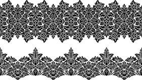 Floral border. Two variants ornamental floral border for your design, black on the white background Stock Image