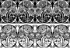 Floral border. Vector illustration of the ornamental floral border for your design, two variants on the black and white background Royalty Free Stock Photo