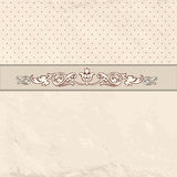Floral border on vintage background. Old paper with patern in re. Tro victorian style. Vector card border with place for text. Perfect for greetings, invitations Royalty Free Stock Photos