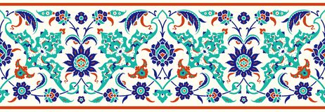 Floral border for your design. Traditional Turkish � Ottoman seamless ornament. Iznik. Vector background royalty free illustration