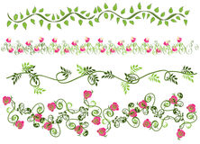 Floral borders. Set of 4 decorative floral borders Royalty Free Stock Photo