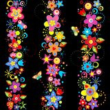 Floral borders with abstract colorful flowers. On black background vector illustration