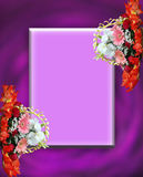 Floral borders and frames. On pink background with copy space Stock Images