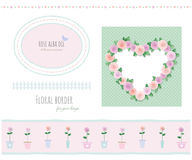 Floral borders, frames and decorative elements set. Included polka dots seamless pattern. Vector Stock Images