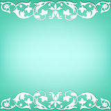 Floral borders. Patterned floral borders on a turquoise background Royalty Free Stock Photography