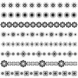Floral borders. Set of abstract seamless flower borders Stock Photos