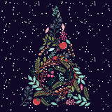 Floral or Botanical Christmas Tree. With Snow royalty free illustration