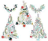 Floral or Botanical Christmas Trees Royalty Free Stock Images