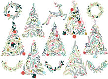 Floral or Botanical Christmas Trees Royalty Free Stock Image