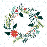 Floral or Botanical Christmas Wreath Royalty Free Stock Photography