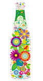 Floral bottle. A bottle design made with colorful flowers Stock Photos