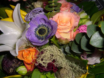 Floral bouquet. A view of a colorful bouquet with a variety of fresh flowers and greenery Royalty Free Stock Photos