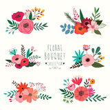 Floral bouquet collection Royalty Free Stock Images
