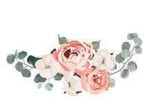 Floral bouquet design: garden pink rose cotton, succulent, eucalyptus branch greenery leaves. vector illustration