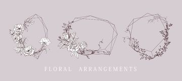 Floral bouquet design. Wedding invitation arrangement. Botanical frame. Royalty Free Stock Photography