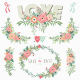 Floral Bouquet Love Elements. A vector illustration of Floral Bouquet Love Elements. Perfect for Wedding, Valentine`s, Mother`s day, Thanksgiving,  greeting card Royalty Free Stock Photos