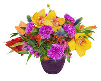 Floral bouquet of orchids, gladioluses and carnation. Arrangement centerpiece in blue vase isolated on white background Stock Photography