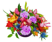 Floral bouquet of orchids, gladioluses and carnations isolated o. Floral bouquet of orchids, gladioluses and carnations arrangement centerpiece in blue glass Stock Image