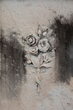 Floral bouquet ornament on a tombstone Stock Photography