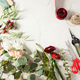 Floral bouquet preparation. Top view bouquet preparation with copy space. Small business concept Royalty Free Stock Image