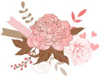 Floral peonies bouquet royalty free illustration