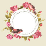 Floral Bouquet with Roses and Bird, Vintage Card Stock Images