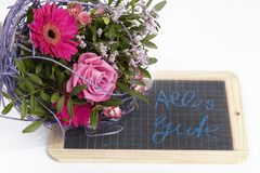 A floral bouquet of roses and a gerbera Royalty Free Stock Images