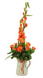 Floral bouquet of roses and gladioluses arrangement centerpiec. E in vase isolated on white background. Closeup Royalty Free Stock Photography