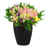 Floral bouquet of roses, lilies and orchids arrangement centerpi Royalty Free Stock Photo