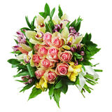Floral bouquet of roses, lilies and orchids arrangement centerpiece isolated on white background. stock photo