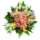 Floral bouquet of roses, lilies and orchids arrangement centerpiece isolated on white background. stock photos
