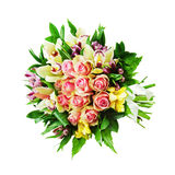Floral bouquet of roses, lilies and orchids arrangement centerpi Royalty Free Stock Photography